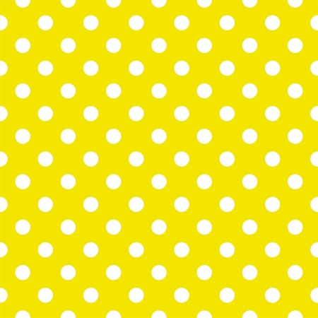Vector seamless pattern with white polka dots on a sunny lemon yellow background. For cards, invitations, wedding or baby shower albums, backgrounds, arts and scrapbooks.