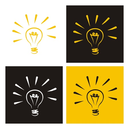 new ideas: Light bulb icon -  hand drawn doodle set isolated on white, black and yellow background. Sign of creative invention