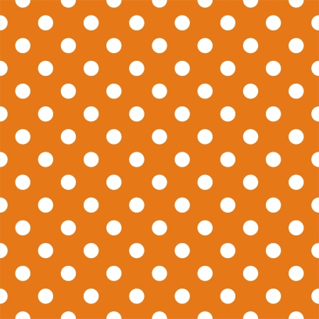 polka dots:  seamless pattern with white polka dots on a retro autumn orange background. For cards, invitations, wedding or baby shower albums, backgrounds, arts and scrapbooks. Illustration