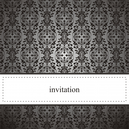 royal invitation: Classic elegant card or invitation for party, birthday ,wedding with black lace and dark grey background. White space to put your own text message. Illustration