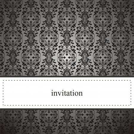 invitacion boda vintage: Tarjeta elegante cl�sica o invitaci�n para la fiesta, un cumplea�os, una boda de encaje negro y fondo gris oscuro. El espacio en blanco para poner su propio mensaje de texto.