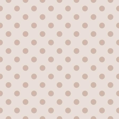 Pastel polka dots on light beige, neutral background - retro seamless vector pattern  Ilustracja