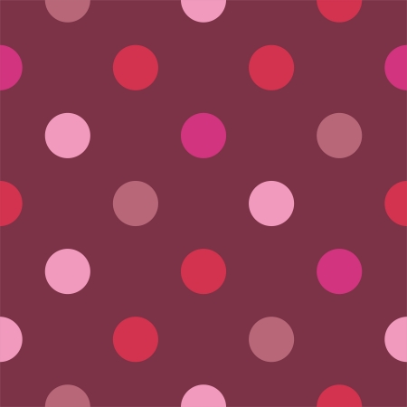 Seamless vector pattern with colorful pink polka dots on dark red background