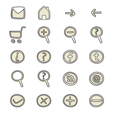 Doodle icons - arrow, home, rss, search, mail, ask, plus, minus, shop, back, forward. Vector web tools symbols set isolated on white background Stock Vector - 15538543