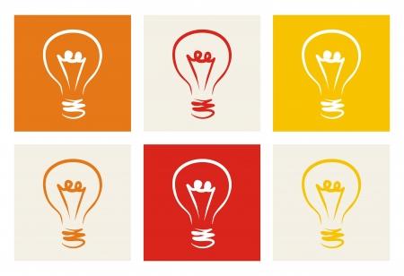 new thinking: Lampadina colorata insieme icona segno di invenzione creativa
