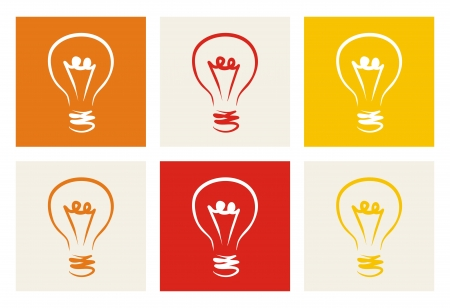 bright idea: Light bulb colorful icon set sign of creative invention