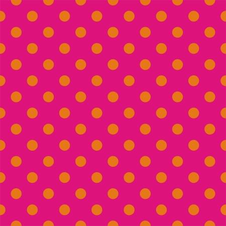 red polka dots: Orange lunares sobre fondo rosa ne�n - Modelo del vector sin fisuras para los fondos, blogs, �lbumes de recortes, WWW, partido o invitaciones de baby shower y tarjetas de boda.