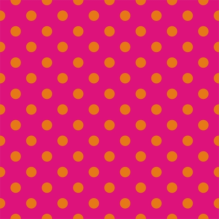 Orange polka dots on neon pink background - seamless vector pattern for backgrounds, blogs, www, scrapbooks, party or baby shower invitations and wedding cards. Ilustracja