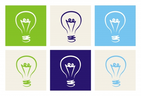 Light bulb colorful doodle hand drawn icon set sign of creative invention Vector