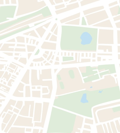 Streszczenie ilustracji wektorowych miasta mapa ulic, parków i stawów