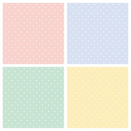 Set of sweet seamless vector patterns or textures with white polka dots on colorful pastel backgrounds