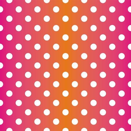 シームレスなネオン ベクトル パターン、テクスチャまたはピンクとオレンジ色の背景に白の水玉の背景
