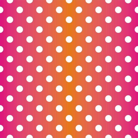 Seamless neon vector pattern, texture or background with white polka dots on pink and orange background