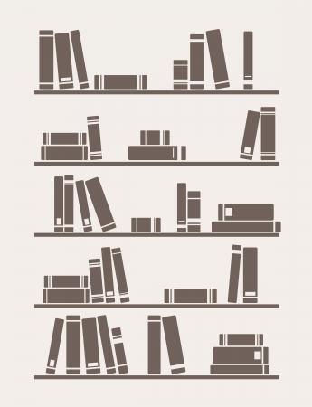 図書館: 棚の単にレトロなイラストの本。インテリア デザインの壁紙のテクスチャや背景の装飾用ビンテージ ライブラリ オブジェクト。