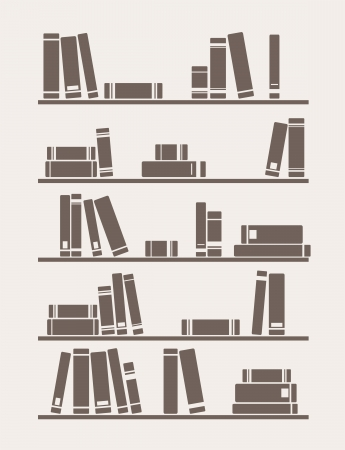 library book: Books on the shelf simply retro illustration. Vintage library objects for decorations, background, textures or interior design wallpaper. Illustration