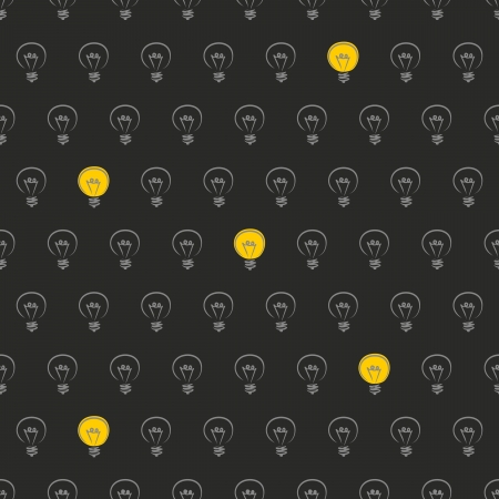 seamless pattern, texture, background with doodle hand drawn light bulbs isolated on black background. Lights on! New idea and innowation sign or symbol Vector
