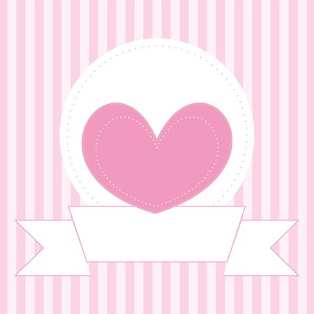 girly: Vector wedding card, baby shower invitation or valentines card with sweet pink heart and place for your own text message