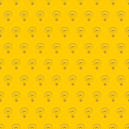 Vector seamless pattern, texture, background with doodle hand drawn light bulbs isolated on light sunny yellow background. Vector