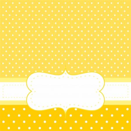 Słodkie zaproszenie lub karty z białymi kropkami na żółtym tle z słodkie białe miejsca, aby umieścić własną wiadomość tekstową. Do brodzików partyjnej niemowlęcym zaproszenia, ślub lub Nowy Rok karty