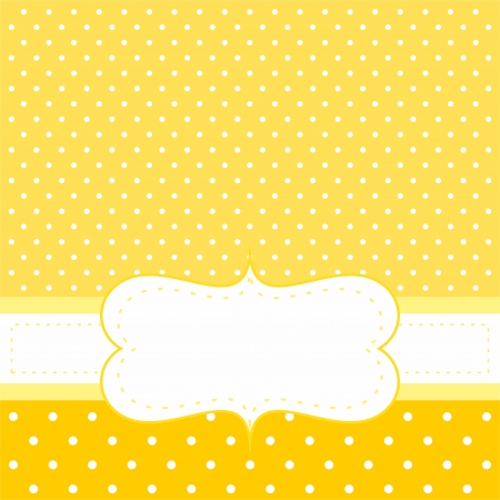 baby shower party: Sweet invitation or card with white polka dots on yellow cute background with white space to put your own text message. For baby shower party invitation, wedding or New Year card