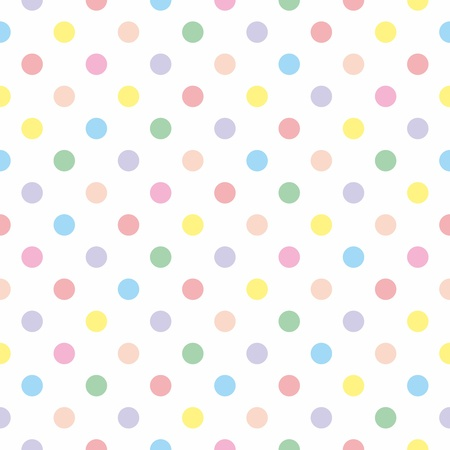 Seamless pattern, texture or background with pastel colorful polka dots. For wed design, wallpapers, desktop, document template, baby shower party card or wedding invitation Ilustracja