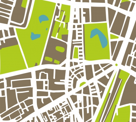 Abstract city map with white streets, brown buildings, green park and blue ponds. Town plan illustration Vector
