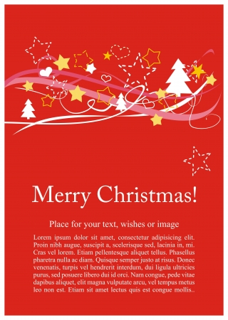 Beautiful modern card or invitation with wishes and place for text  Classic vector illustration with red background, white, pink and yellow trees and stars   Merry Christmas message Vector