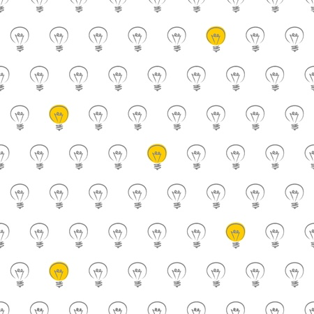 Vector seamless pattern, texture, background with doodle hand drawn light bulbs isolated on white background  Vector
