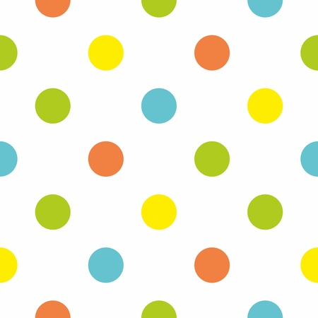 Bez szwu wektor lub tekstury dla tła z dużymi kolorowymi kropkami polka na białym tle