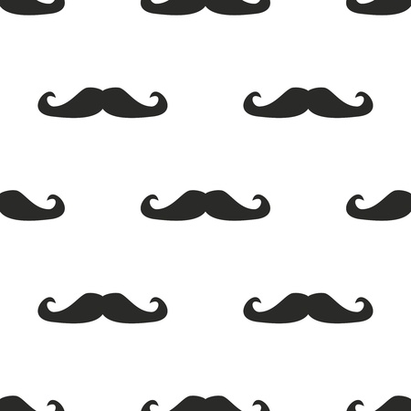 white moustache: Seamless pattern, background or texture with black curly vintage retro gentleman mustaches on white background. For websites, desktop wallpaper, blog, web design.