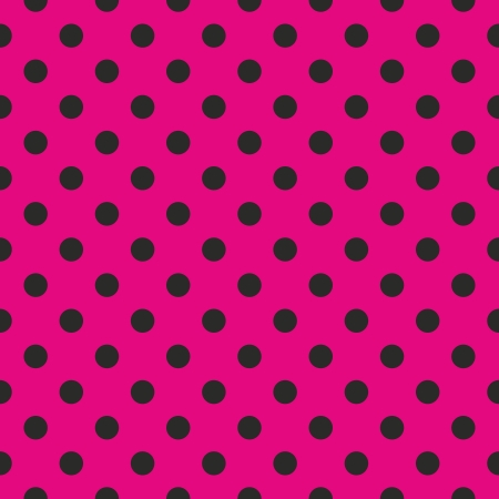 Seamless pop art abstract pattern or texture with neon pink polka dots on black background. For web design, wallpaper, blog, documents template. Vector