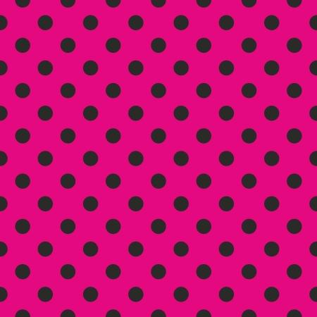 Seamless pop wzór abstrakcyjny sztuka lub tekstury z neon pink polka kropek na czarnym tle. Na projektowanie stron www, tapety, blog, szablon dokumentów.