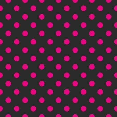 Seamless patrón o la textura de neón con puntos rosados ??lunares sobre fondo negro