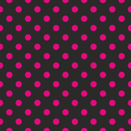 Seamless pattern or texture with neon pink polka dots on black background