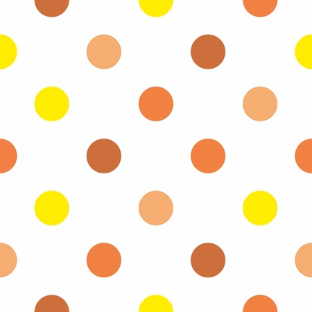 polka dots: Seamless pattern or texture with colorful yellow, brown and orange polka dots