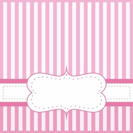 Pink vector card invitation for baby shower, wedding or birthday party with white stripes.  Illustration