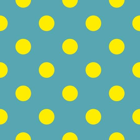 Bez szwu wektora lub tekstury z neonowych żółtych kropek polka na niebieskim tle zielonej butelki.
