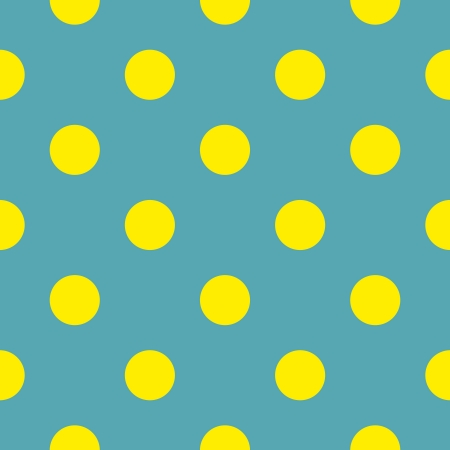 Seamless vector pattern or texture with neon yellow polka dots on bottle blue green background.  Vector