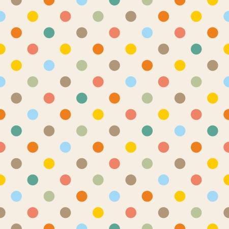 Bez szwu wektor lub tekstury kolorowe żółty, pomarańczowy, różowy, zielony i niebieski kropek polka na beżowym tle.
