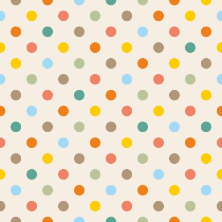 Seamless vector pattern or texture with colorful yellow, orange, pink, green and blue polka dots on beige background.