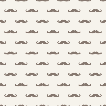 sideburns: Seamless pattern, background or texture with brown curly vintage hipster retro gentleman mustaches on beige background. For websites, desktop wallpaper, blog, web design.  Illustration