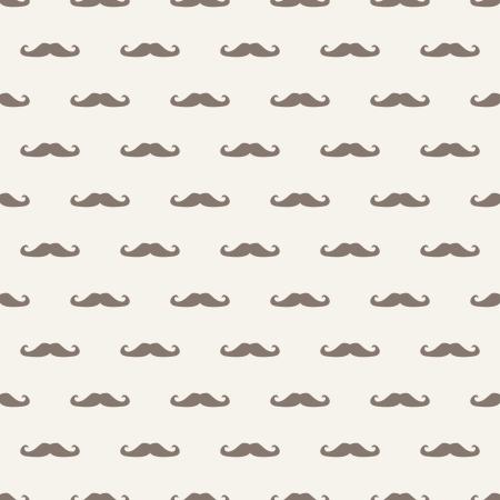 sideburns: Seamless pattern, background or texture with brown curly vintage hipster retro gentleman mustaches on beige background. For websites, desktop wallpaper, blog, web design.  Illustration