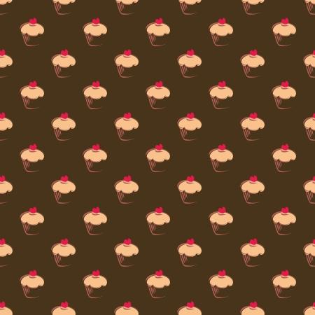 Bez szwu, tekstury lub tła ze słodką bułkę babeczki czekoladowe na brązowym tle. Red piękne serce na wierzchu. Projektowanie stron internetowych, blog kulinarny lub dektop tapety