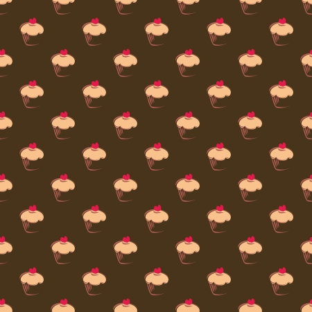 Seamless  pattern, texture or background with sweet muffin cupcakes on chocolate brown background. Red lovely heart on top. For web design, culinary blog or dektop wallpaper  Vector
