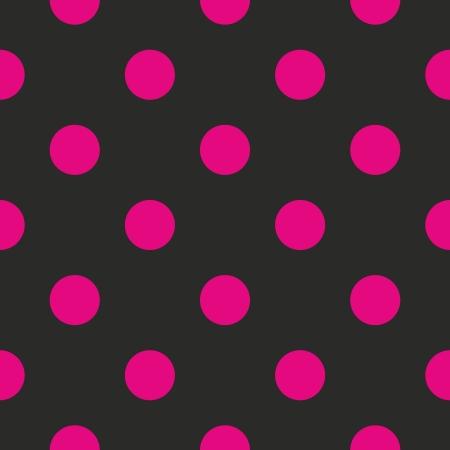Bez szwu wektora lub tekstury z neon pink polka kropek na czarnym tle. Dla karty, zaproszenia, strony internetowe, pulpit, prysznic tło dziecko karta, party, web design, sztuka i albumy.