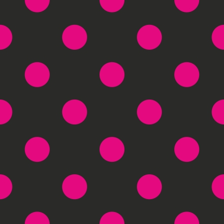 Seamless vector pattern or texture with neon pink polka dots on black background. For cards, invitations, websites, desktop, baby shower card background, party, web design, arts and scrapbooks.  Illustration