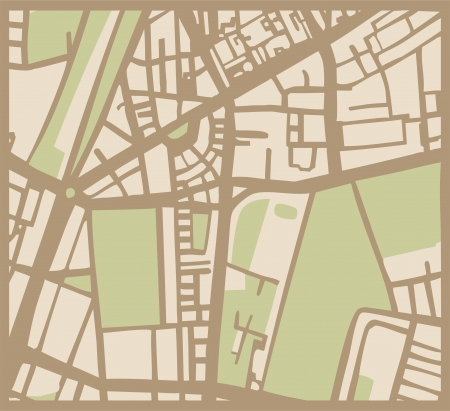 route map: Abstract vector city map with brown streets, beige buildings and green park. Simply hand made draft town plan vintage illustration.
