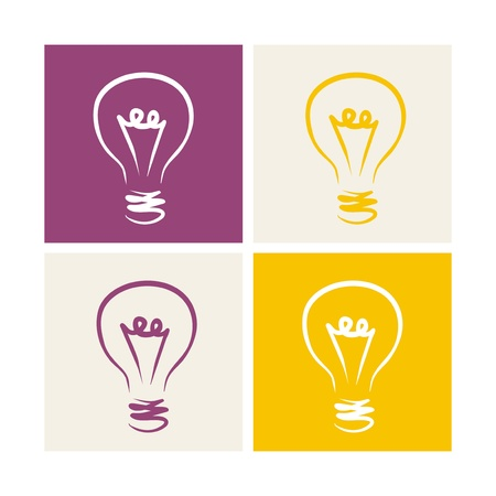 Vector colorful light bulbs icon or buttons set on violet, beige and yellow background. Sign of creative invention