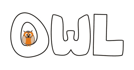 O is for owl - illustration with funny staring owl sitting on hand drawn doodle word. Cute, cartoon symbol of wisdom draft for learning words and school coloring book Vector