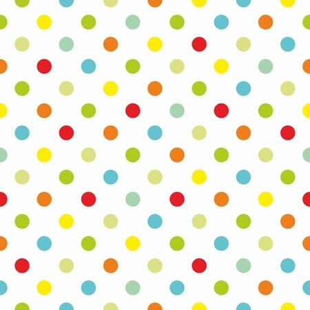 lunares rojos: Seamless pattern primaveral textura o con lunares de colores sobre fondo blanco para el fondo de los ni�os, blog, dise�o web, �lbumes de recortes, partido o baby shower invitaciones y tarjetas de boda.